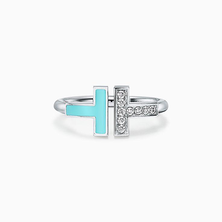 Tiffany T:18K白金鑲鑽石及綠松石方形戒指