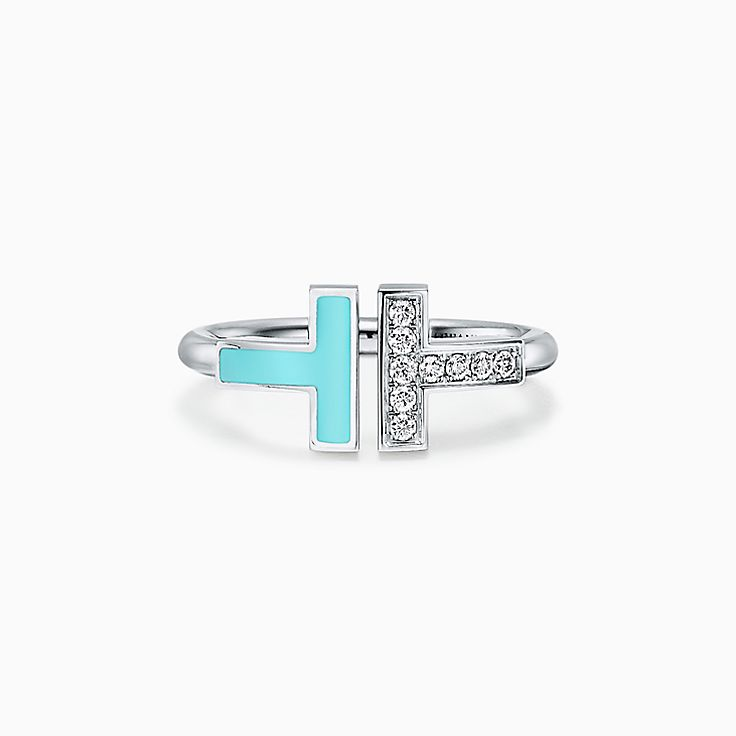 Tiffany T:Anillo cuadrado en oro blanco de 18k con turquesa y diamantes