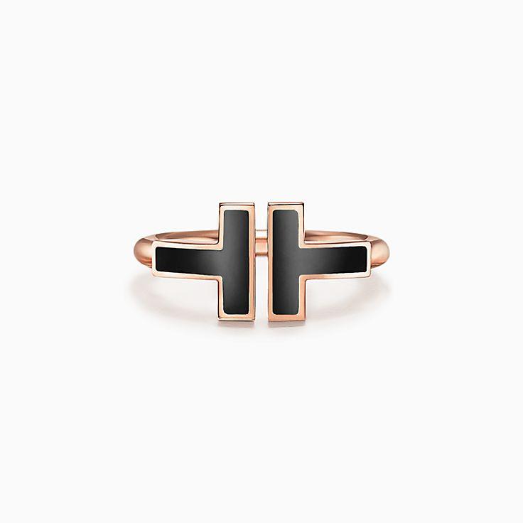 TiffanyT:Bague carrée en or rose 18carats avec onyx noirs