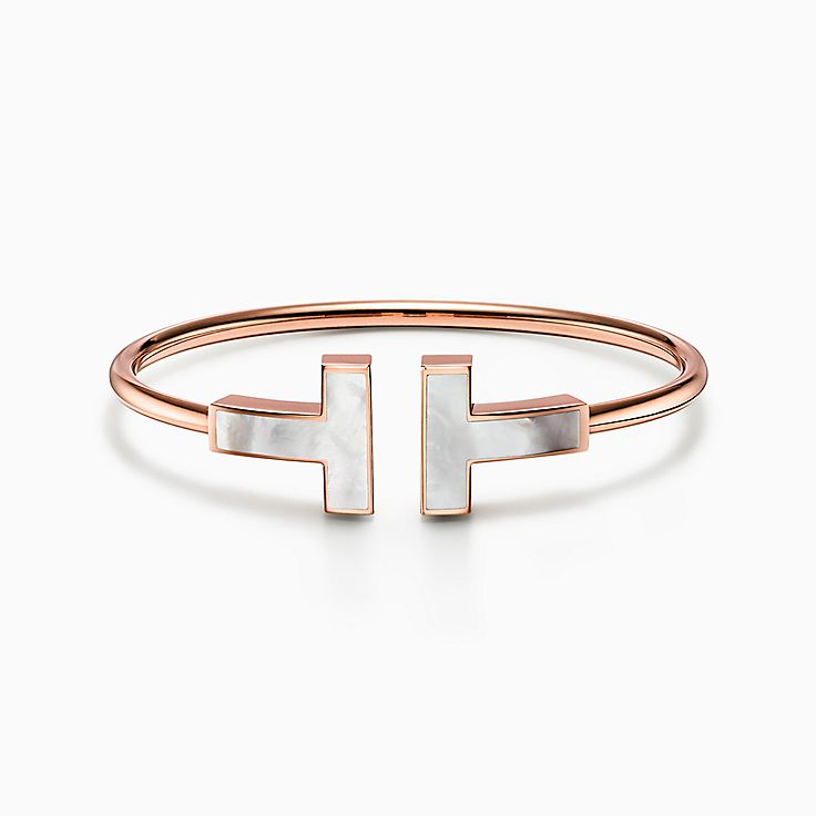 Tiffany T:Bracelet large Wire en or rose 18carats et nacre