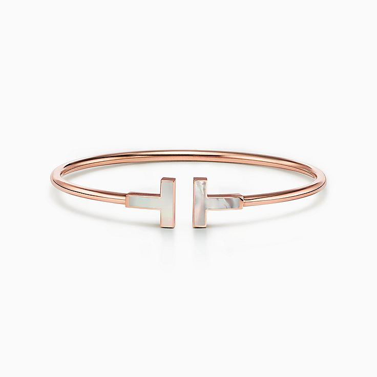 Tiffany T:Bracelet Wire en or rose 18carats et nacre