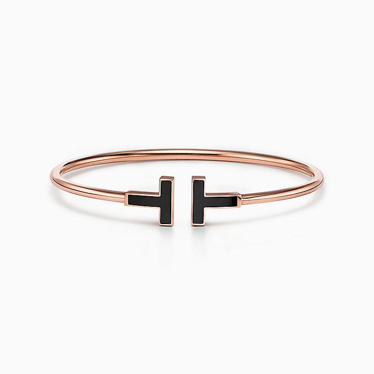 Tiffany T:Bracelet Wire en or rose 18carats et onyx noir
