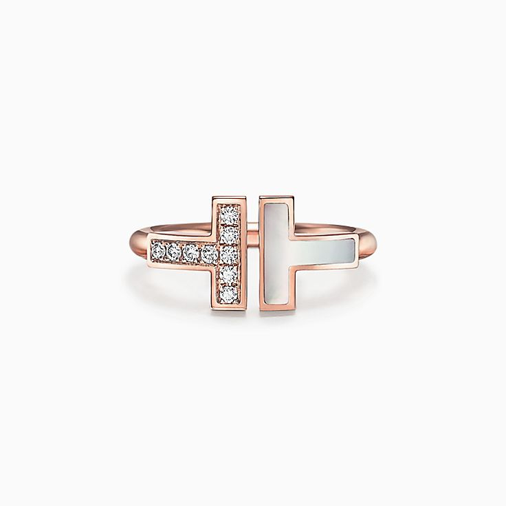 Tiffany T:Diamond and Mother-of-pearl Square Ring in 18k Rose Gold