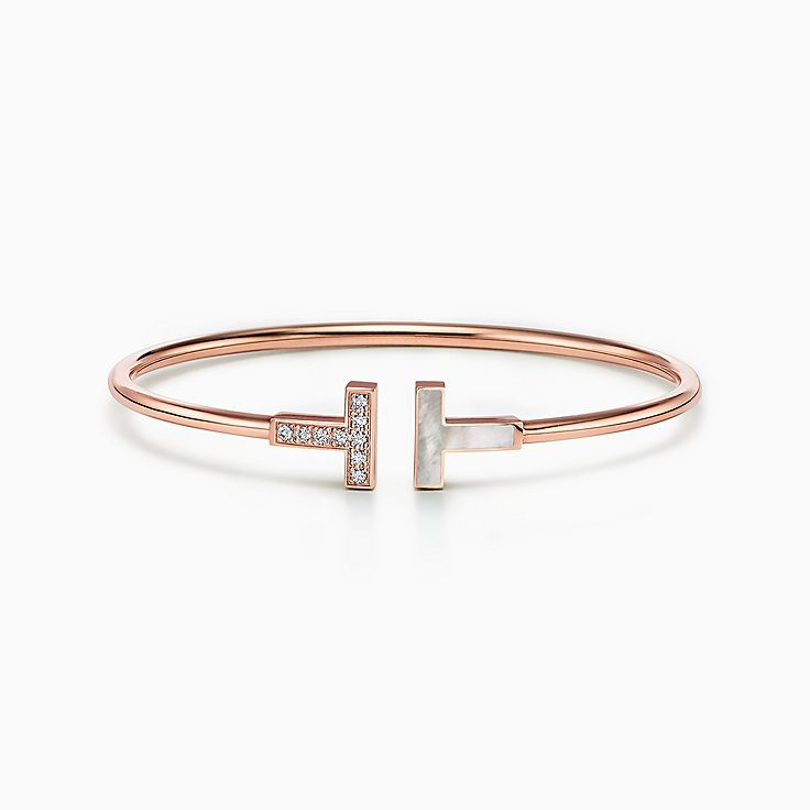 Tiffany T:Diamond and Mother-of-pearl Wire Bracelet in 18k Rose Gold
