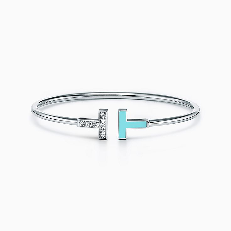 Tiffany T:Diamond and Turquoise Wire Bracelet in 18k White Gold
