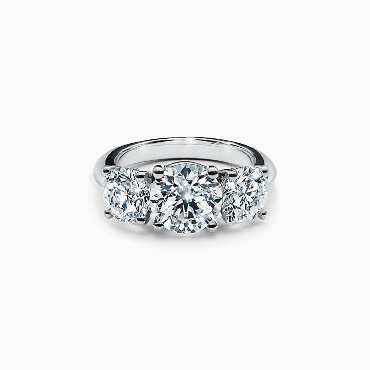 Tiffany Three Stone Engagement Ring in Platinum
