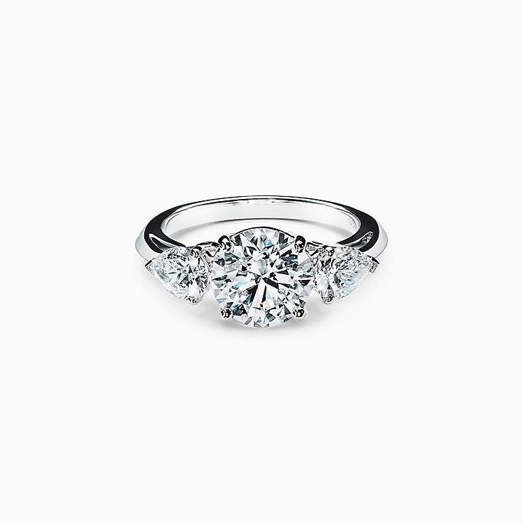 Tiffany Three Stone Engagement Ring with Pear-shaped Side Stones in Platinum