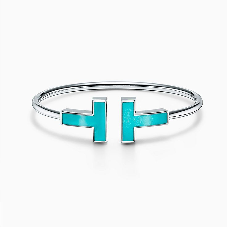 Tiffany T:Large Turquoise Wire Bracelet in 18k White Gold