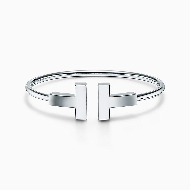Tiffany T:Large Wire Bracelet in 18k White Gold