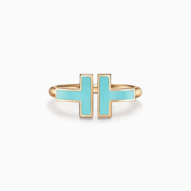 Tiffany T:Turquoise Square Ring in 18k Gold