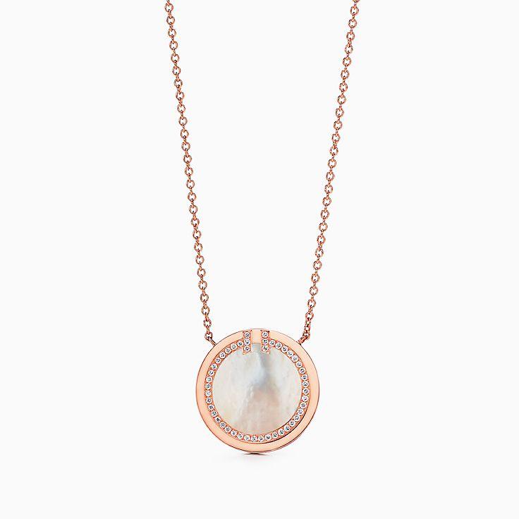 Tiffany T:Two 18K玫瑰金鑲鑽石及珍珠貝母圓圈鏈墜,16-18 吋