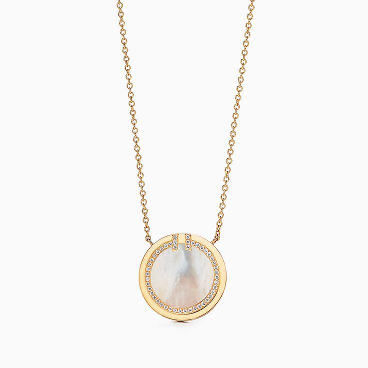Tiffany T:Two 18K黃金鑲鑽石及珍珠貝母圓圈鏈墜,16-18 吋