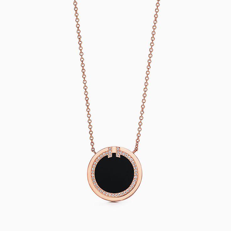 Tiffany T:Two 18K玫瑰金鑲鑽石及縞瑪瑙圓圈鏈墜,16-18 吋