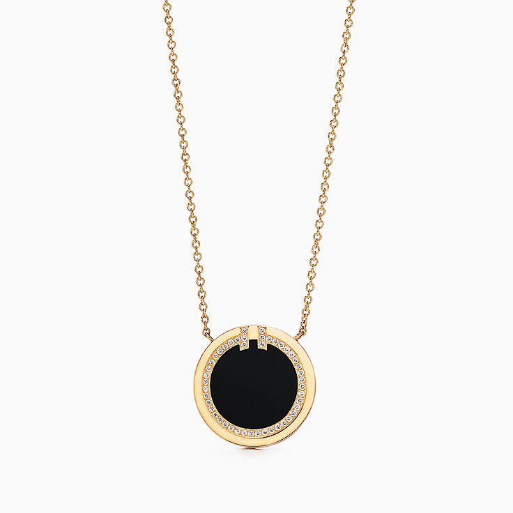 Tiffany T:Two 18K黃金鑲鑽石及縞瑪瑙圓圈鏈墜,16-18 吋