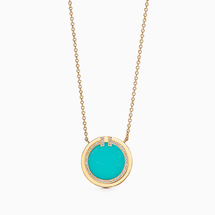 Tiffany T:Two 18K黃金鑲鑽石及綠松石圓圈鏈墜,16-18 吋
