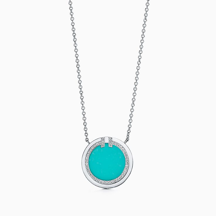 Tiffany T:Two 18K白金鑲鑽石及綠松石圓圈鏈墜,16-18 吋