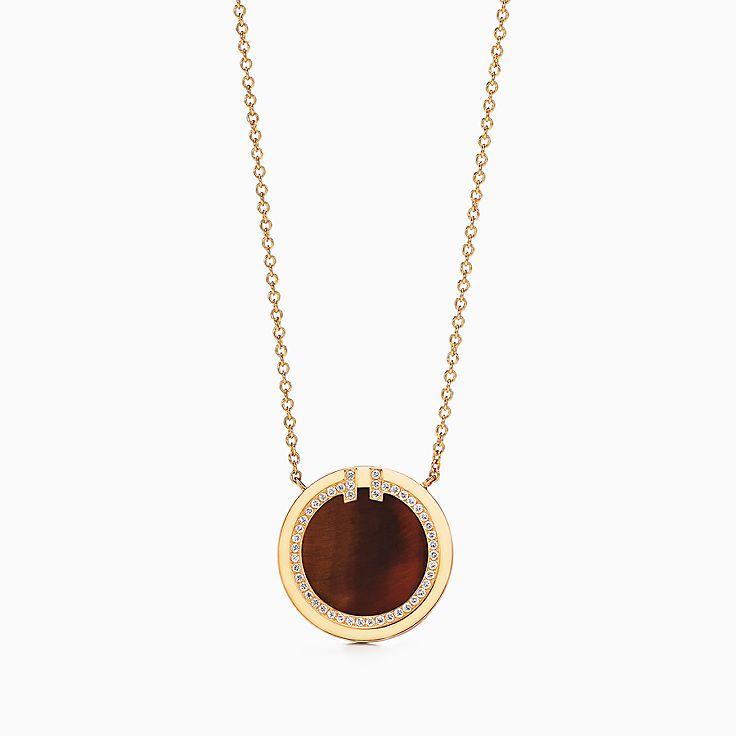 Tiffany T:Two 18K黃金鑲鑽石及虎眼石圓圈鏈墜,16-18 吋
