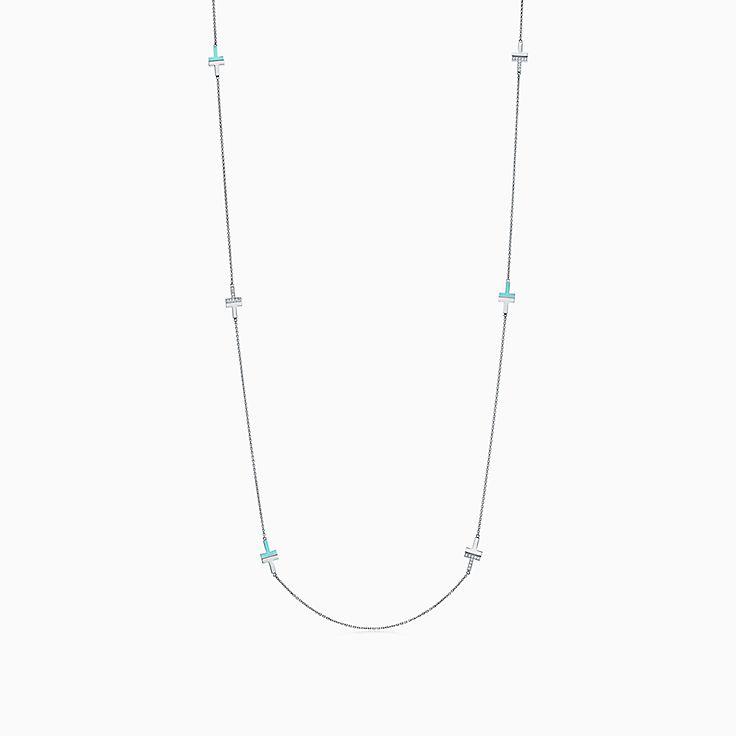Tiffany T:Two 18K白金鑲鑽石及綠松石項鏈,32 吋