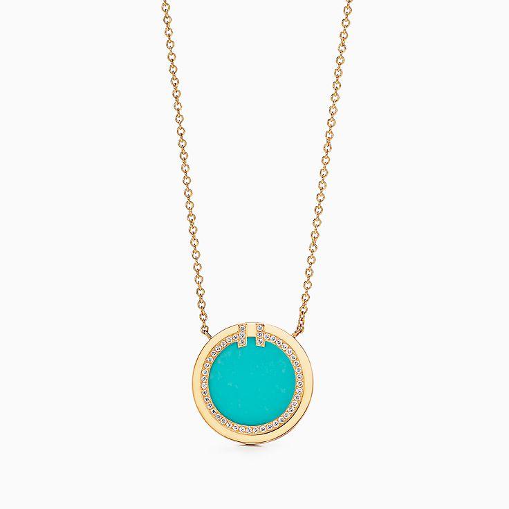 Tiffany T:Two Circle Anhänger mit Diamant und Türkis in 18KaratGold, 40,6 bis 45,7cm