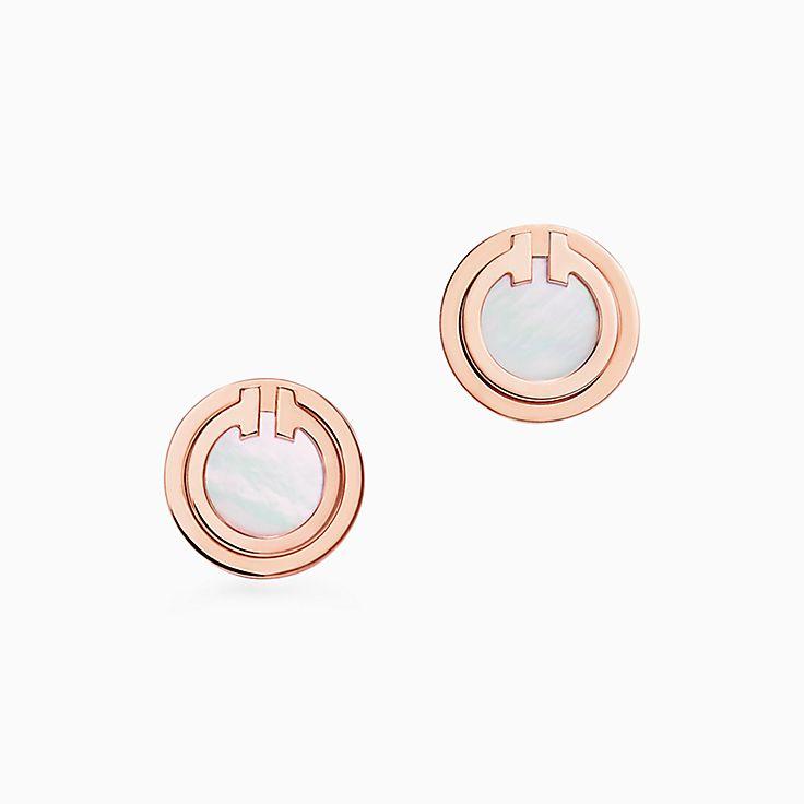 Tiffany T:Two Circle Ohrringe mit Perlmutt in 18Karat Roségold