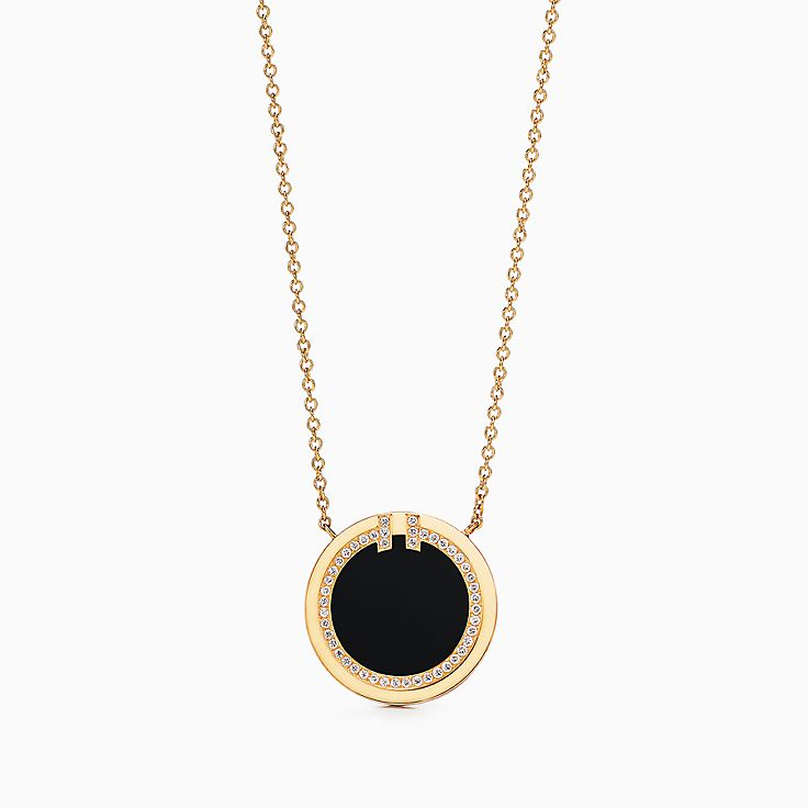 Tiffany T:Two Diamond and Black Onyx Circle Pendant in 18k Gold, 16–18""