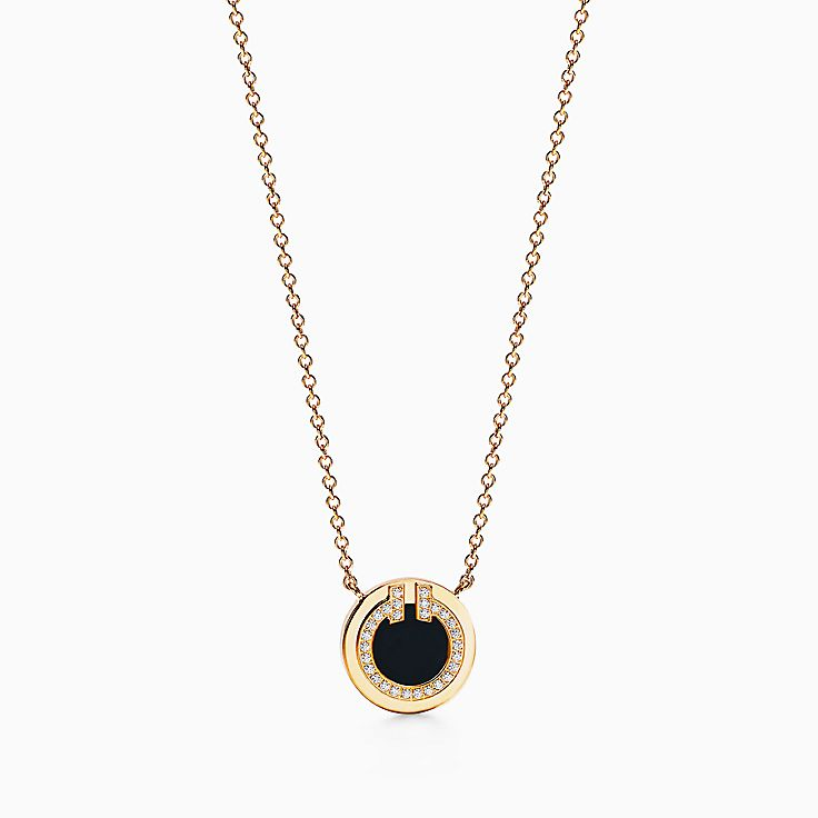 """Tiffany T:Two Diamond and Black Onyx Circle Pendant in 18k Gold, 16–18"""""""