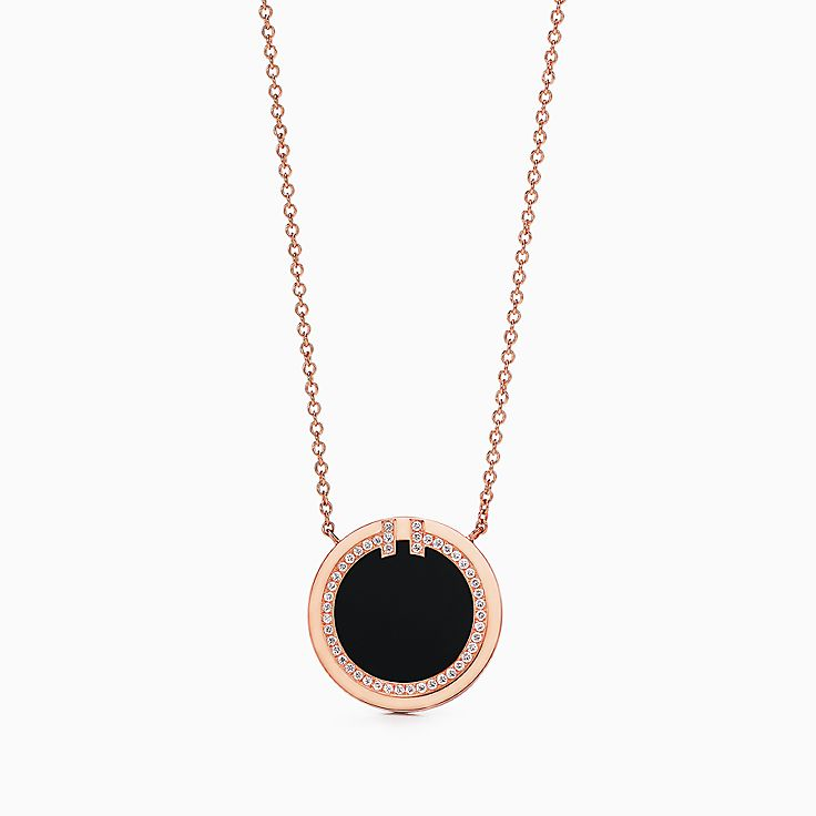 Tiffany T:Two Diamond and Black Onyx Circle Pendant in 18k Rose Gold, 16–18""