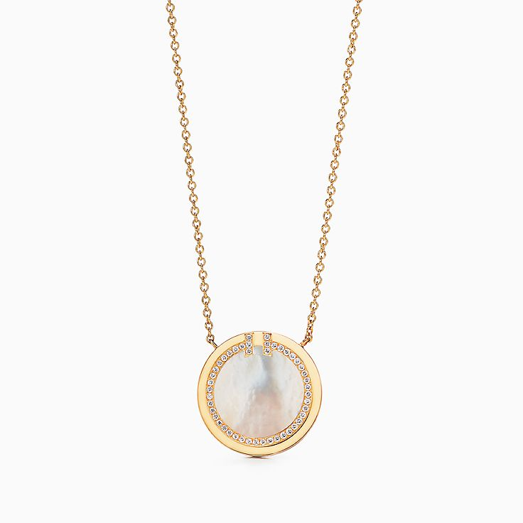 Tiffany T:Two Diamond and Mother-of-pearl Circle Pendant in 18k Gold, 16–18""