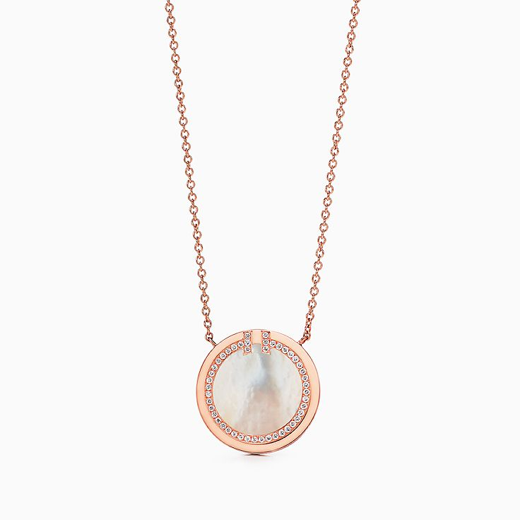 Tiffany T:Two Diamond and Mother-of-pearl Circle Pendant in 18k Rose Gold, 16–18""