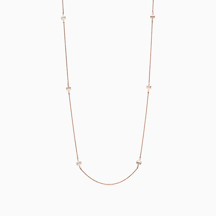 """Tiffany T:Two Diamond and Mother-of-pearl Necklace in 18k Rose Gold, 34"""""""