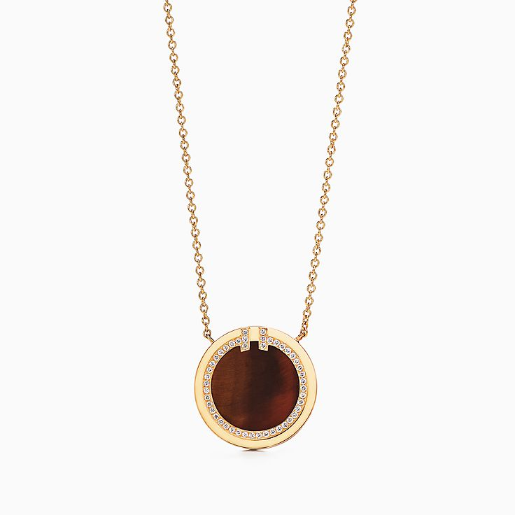 Tiffany T:Two Diamond and Tiger's Eye Circle Pendant in 18k Gold, 16–18""