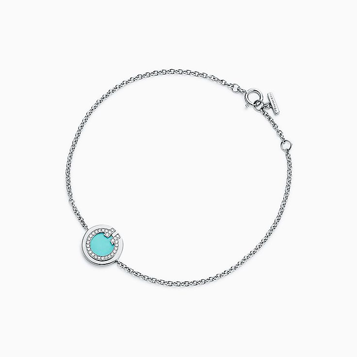 Tiffany T:Two Diamond and Turquoise Circle Bracelet in 18k White Gold