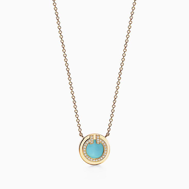 Tiffany T:Two Diamond and Turquoise Circle Pendant in 18k Gold, 16–18""