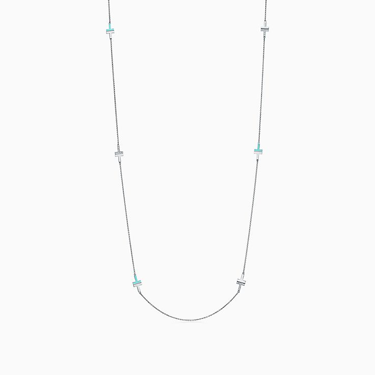 Tiffany T:Two Diamond and Turquoise Necklace in 18k White Gold, 34""