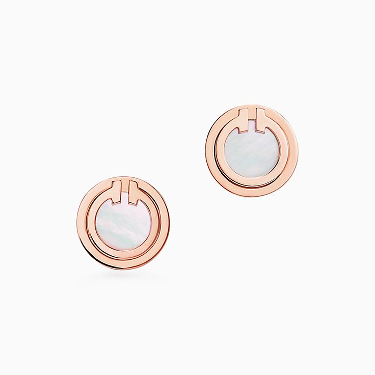 Tiffany T:Two Mother-of-pearl Circle Earrings in 18k Rose Gold