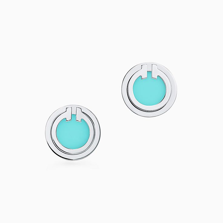 Tiffany T:Two Turquoise Circle Earrings in 18k White Gold