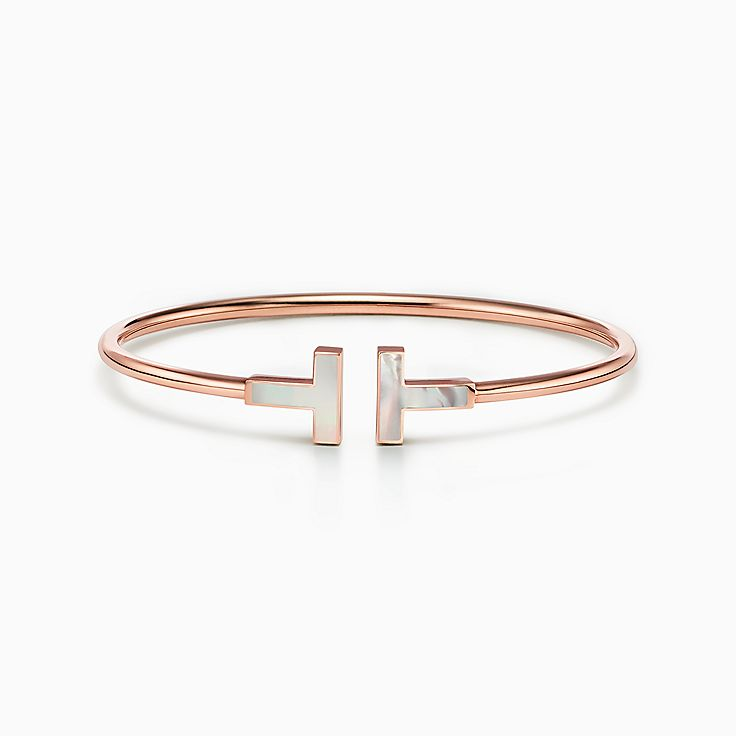 Tiffany T:Wire 18K玫瑰金鑲珍珠貝母手鏈