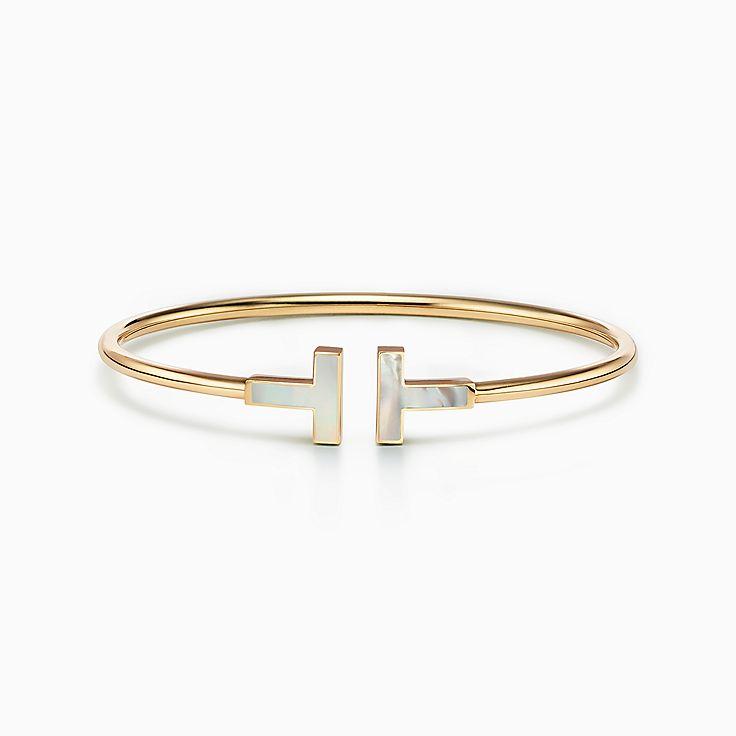 Tiffany T:Wire 18K黃金鑲珍珠貝母手鏈