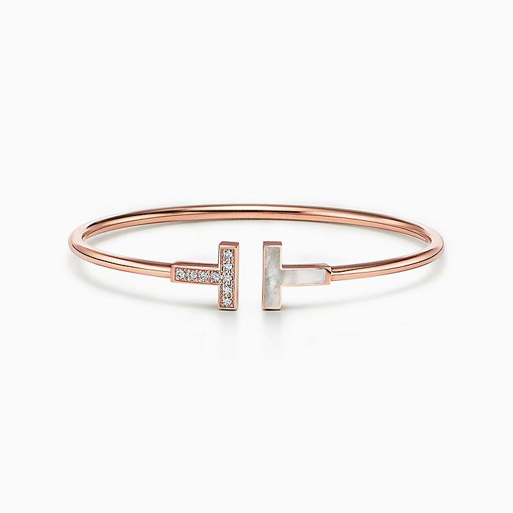 Tiffany T:Wire 18K玫瑰金鑲鑽石及珍珠貝母手鏈
