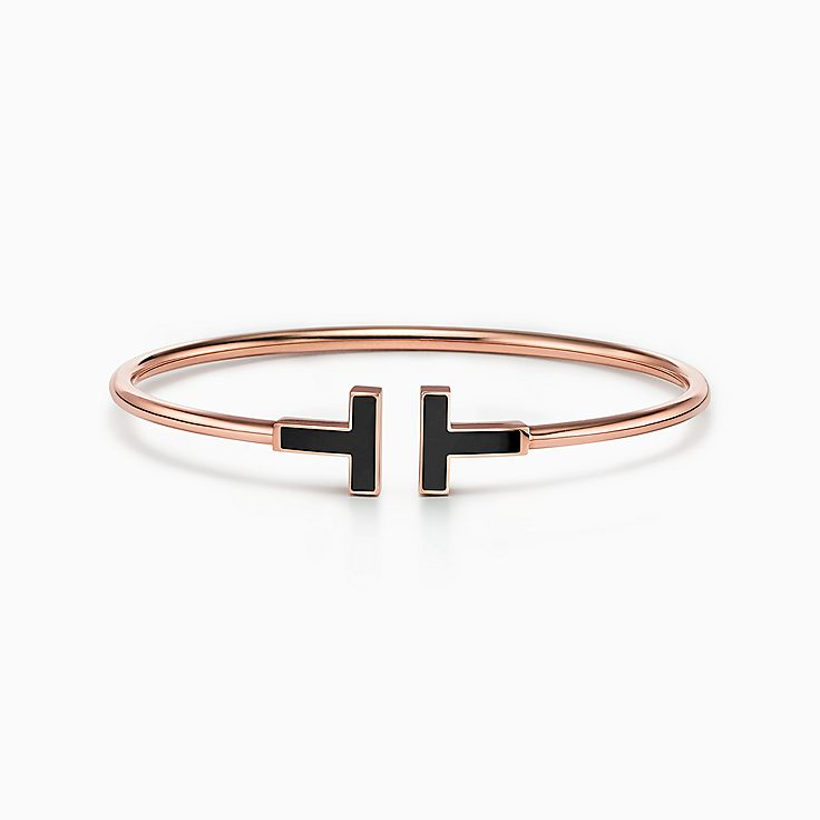 Tiffany T:Wire 18K玫瑰金鑲縞瑪瑙手鏈