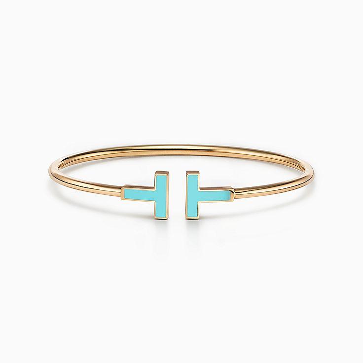 Tiffany T:Wire 18K黃金鑲綠松石手鏈