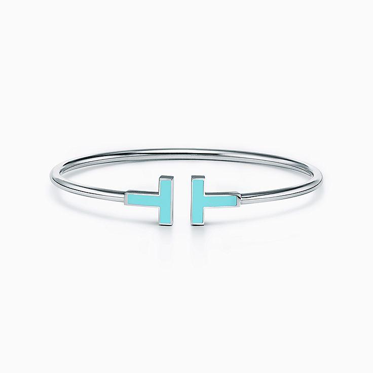 Tiffany T:Wire 18K白金鑲綠松石手鏈