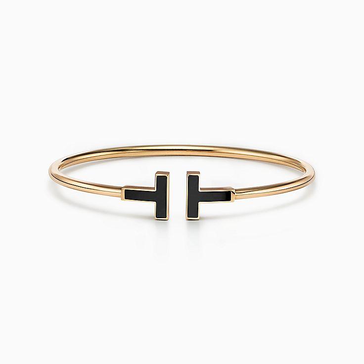 Tiffany T:Wire Armband mit schwarzem Onyx in 18KaratGold