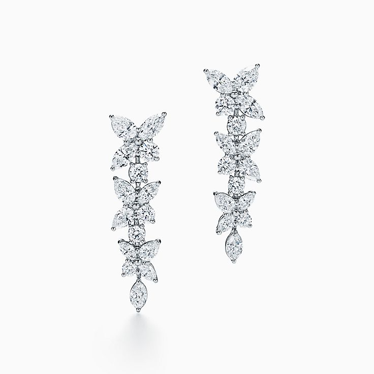 Tiffany Victoria®:Mixed Cluster Drop Earrings