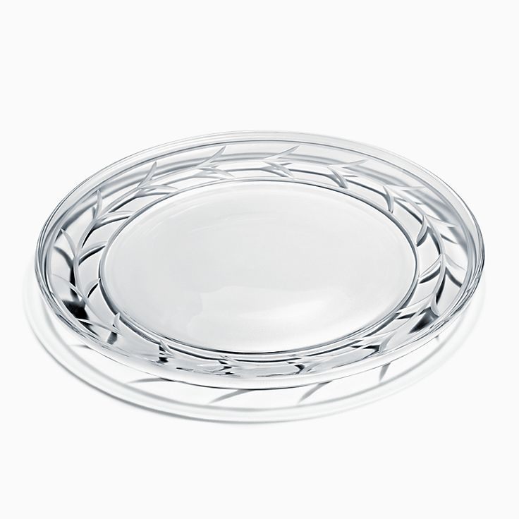 Wheat Leaf:Platter in Crystal Glass