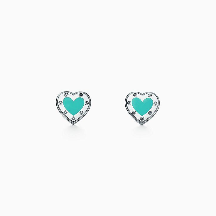 pendente de coração duploR  1.370. Brincos Love Heart Return to Tiffany™ em  prata com acabamento esmaltado, mini. 0c42e4849d