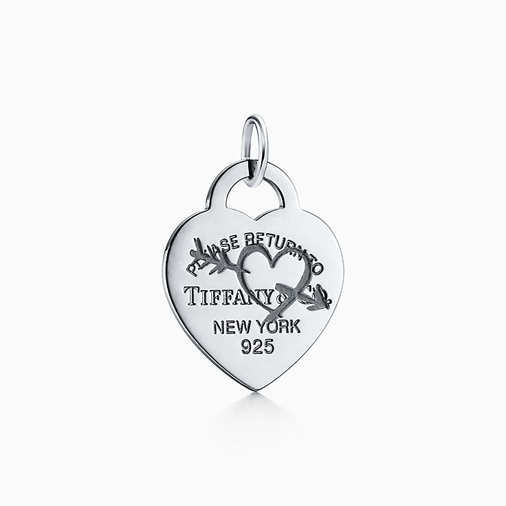 Return To Tiffany Etched Heart And Arrow Tag Charm In Sterling Silver Large