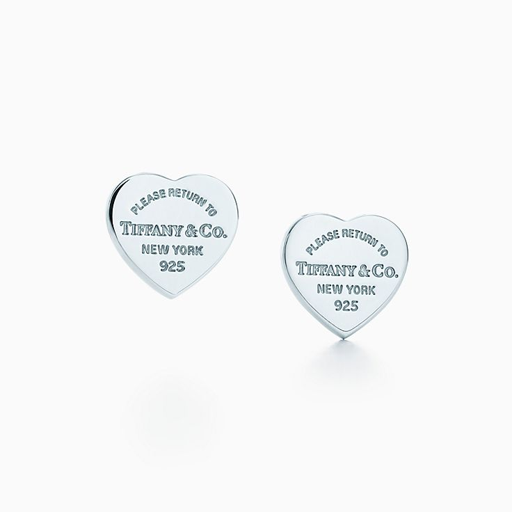 Return To Tiffany Mini Heart Tag Earrings In Sterling