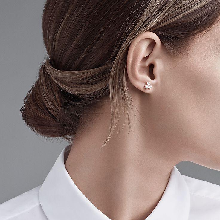 Earrings Stud Silver Gold Diamond Tiffany Co