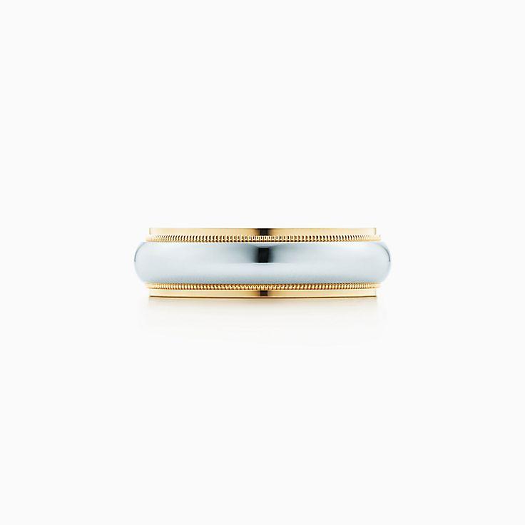 new tiffany classic milgrain wedding band ring in platinum and 18k gold 6 mm wide - Tiffanys Wedding Rings